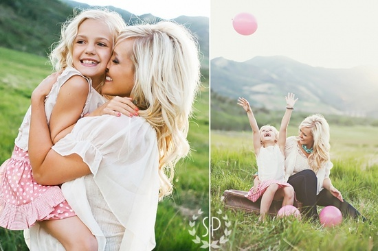 Posh Poses | Family | Mommy Daughter | Spring Time | Mother's Day | Pink Balloon | Blondie Bonds | Love