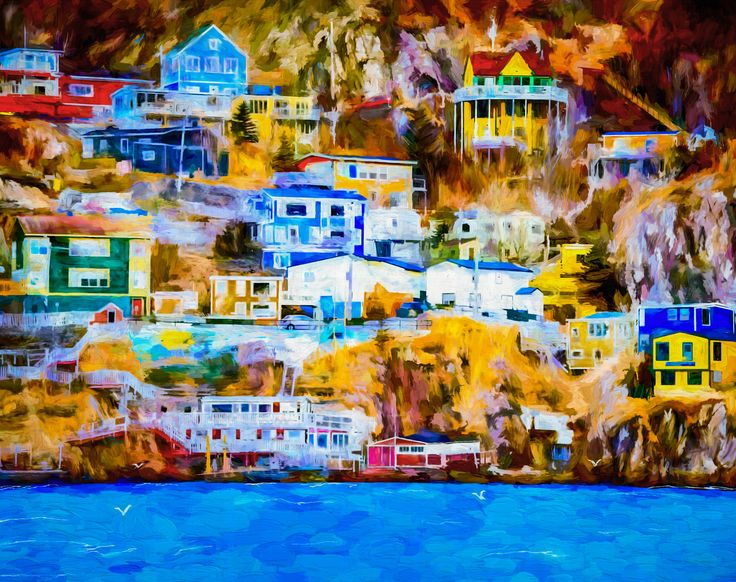 High Society - Newfoundland is an amazingly beautiful province with magnificent landscapes and seascapes. For many years numerous little outports were located along the rugged coastline with homes built in a kind of terraced fashion and finished with a rainbow of colours. Sadly with the province's relocation policy a number of years ago many of these unique little communities no longer exist.