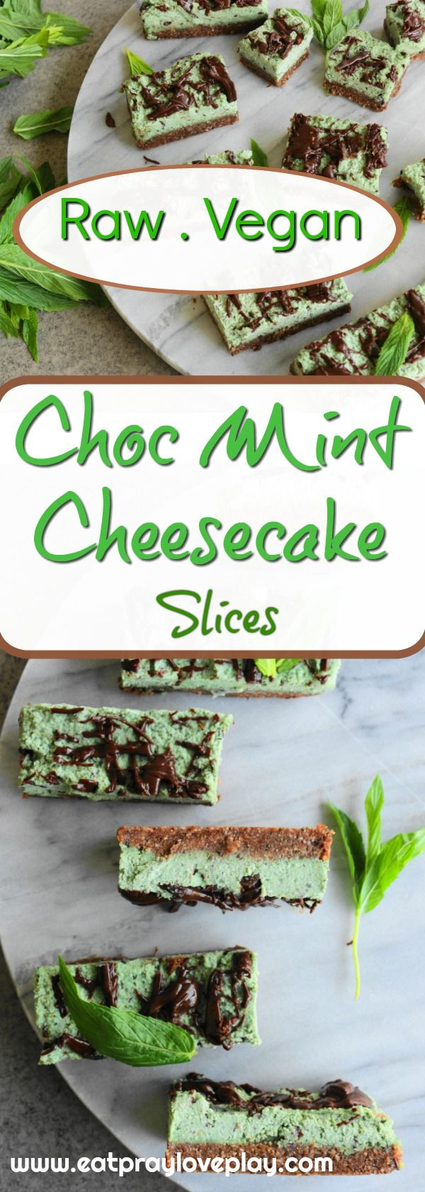 Delicious refined sugar free vegan raw cheesecake which is super simple to make and gorgeously delicious and healthy! #rawvegan #rawcheesecake #veganrecipes #chocmint