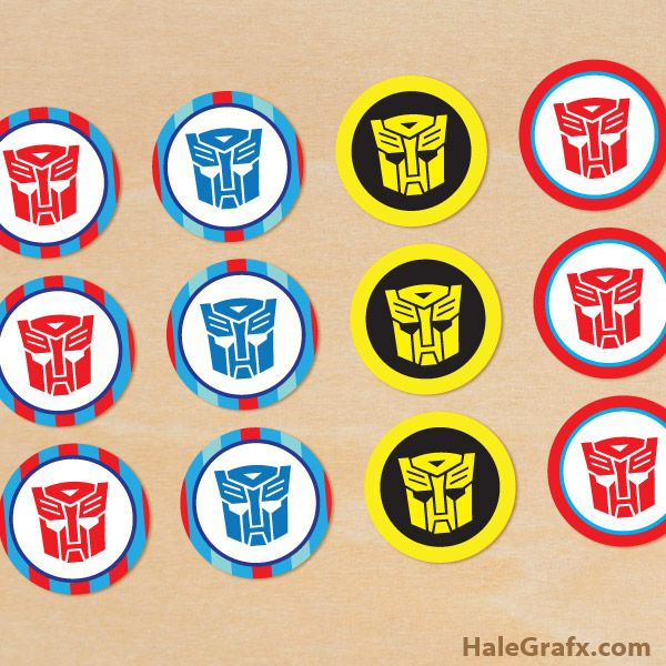 Click here to download FREE Printable Transformers Cupcake Toppers!