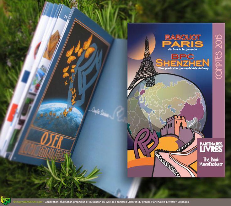 Conception, réalisation graphique et illustration du rapport financier 2015/16 du groupe Partenaires-Livres® 108 pages