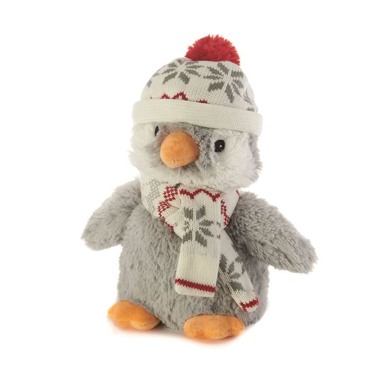 #Warmies #CozyPlush Baby #Penguin #MicrowavableToy  Make bedtime fun with a super soft and snuggly warm Cozy Plush heatable baby penguin cuddly toy, all wrapped up in his winter hat and scarf.   Made from fluffy faux fur, Cozy Plush baby penguin is filled with natural grain and is a safe alternative to traditional hot water bottles, as there's no risk of leakage or scalding.