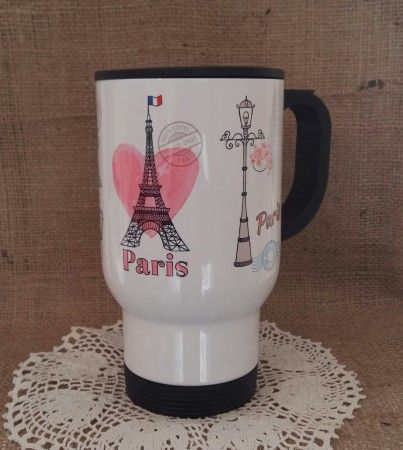 Termosz bögre Párizs mintával