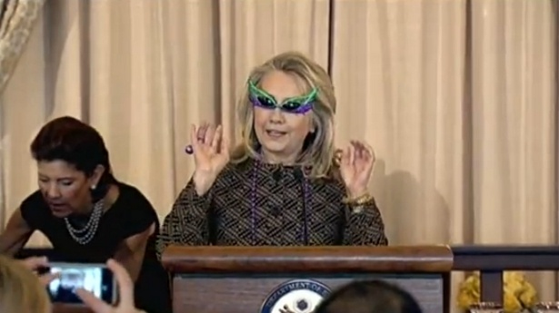 Mrs. Hilary Clinton with her sunglasses for foreign affairs