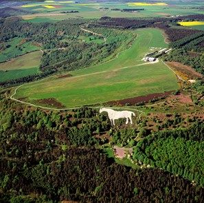 England - Aerial view, Kilburn White Horse, North Yorkshire