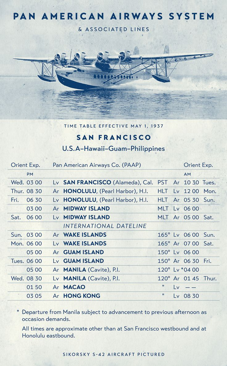 Graphic Containing A Sikorsky S 42 Flying Boat And A 1937 Pan American Airways Schedule