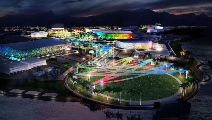 Rio 2016 Olympic village night rendering, Rio de Janeiro, Brazil. AECOM is providing masterplanning, engineering, cost-consulting, transportation strategy, sustainability consulting, and landscape design services,as well as preliminary architectural design for seven sporting venues and detailed design for the International Broadcasting Center.