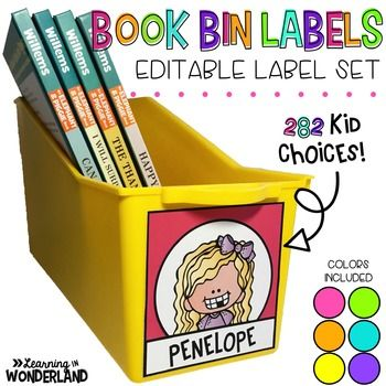 By request, I am sharing my editable book bin labels. I created them to fit on the front of Lakeshore book bins, but they also fit other similar sized bins. In this file you will find 282 kid clip art choices so that you can use a unique one for each of your students!