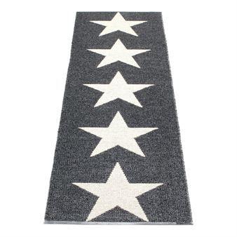 Här presenteras Viggo Star svart från Pappelina. Viggo star är en vävd metallicfärgad plastmatta med svart botten och vaniljvita stjärnor på. Vänder du på mattan får den motsatt utseende. Köp din praktiska och lättstädade köksmatta, badrumsmatta eller hallmatta här!