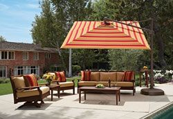 Made for the shade! The AKZ cantilever umbrella #collection from @treasuregarden1 is adding two new sizes and a contemporary platinum finish for #outdoor living segments. Each #umbrella has a full 360-rotation from a single foot pedal control.