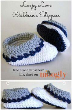 Crochet Loopy Love Kids Slippers - 101 Free Crochet Patterns - Full Instructions for Beginners | 101 Crochet #ChildrenSlipers