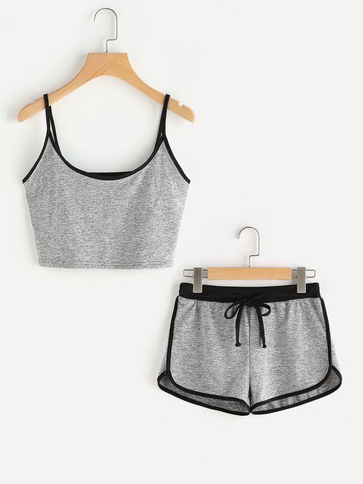¡Cómpralo ya!. Ringer Crop Cami Top With Drawstring Shorts. Shorts Black Grey Polyester Plain Strap Sleeveless Sexy Sports Fabric has some stretch Summer Two-piece Outfits. , topcorto, croptops, croptop, croptops, croptop, topcrop, topscrops, cropped, topbailarina, corto, camisolacorta, crop, croppedt-shirt, kurzestop, topcorto, topcourt, topcorto, cortos. Top corto de mujer de SheIn.