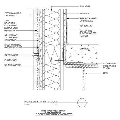 09 21 13 161 Plaster Wall Concrete Floor Stud Bypass