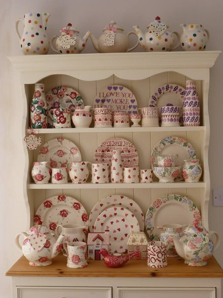 Emma Bridgewater Polka Dot on display One day I will have a dresser like this.