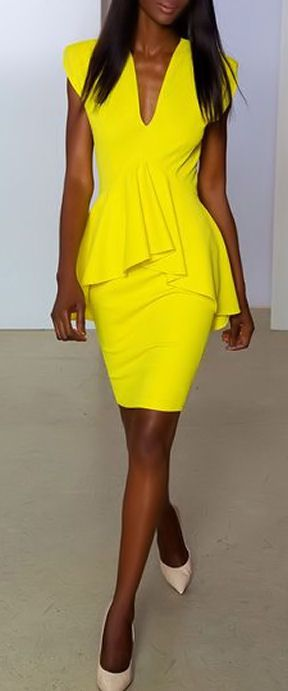 Worried about your waist or hips? Try peplum for an instant slimming effect. It flatters every figure and does wonders at hiding unsightly bulge.  Yellow Peplum Dress by Marc Bouwer ♥
