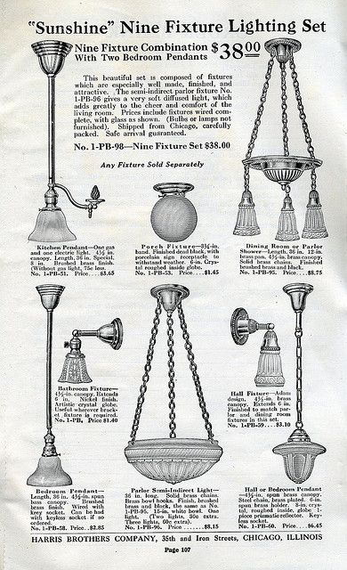 Light Fixtures available in Harris Homes in 1920.