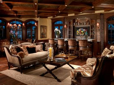 Mediterranean family room with bar & game table - note the gorgeous detail of the coffered ceiling...