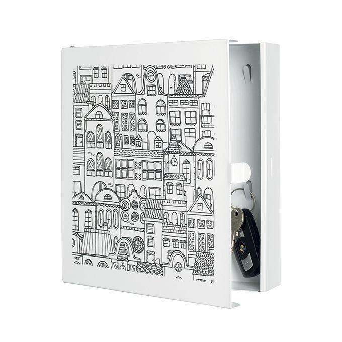 Portachiavi TOWN3     cassetta portachiavi 'town3' in lamiera tagliata al laser, con base verniciata bianca e serigrafia  dimensione: 22x5x24  colore: bianco