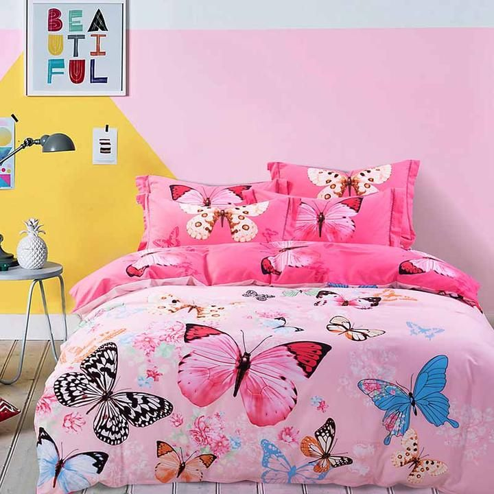 bohemia bedding set bedclothes unisex butterfly pink cotton luxury sheet bedding 1152brushed cotton