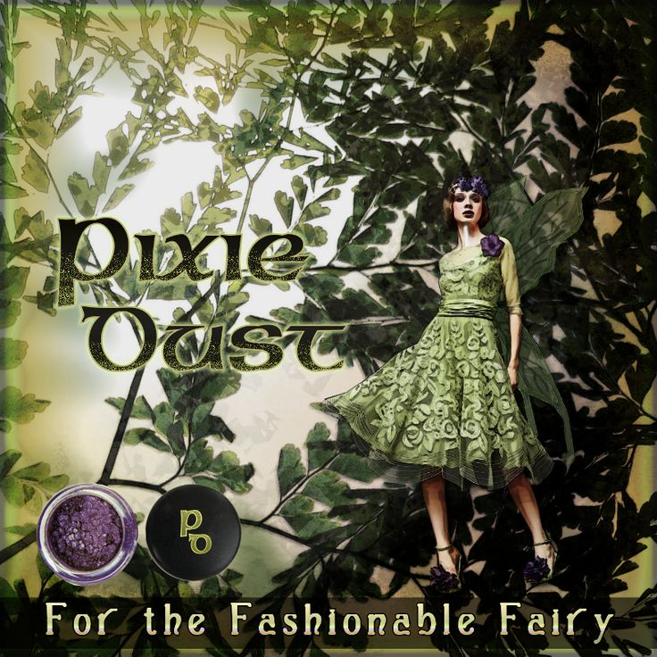 """""""pixie dust - for the fashionable fairy"""" digital collage with fake painting elements. came about as a joke because someone said fairies don't  wear make up and my favourite type of eye shadow when i was younger was called pixi dust."""