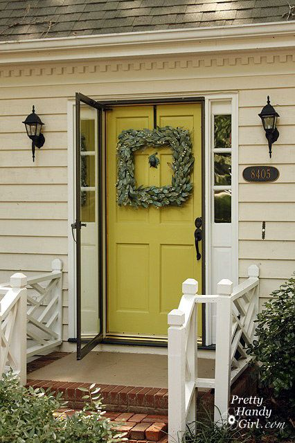 Chartreuse_SW0073_cottageChartreuse Front Doors, Entry Doors, Exterior Doors, House Colors, Entrance Doors, House Exterior, Squares Wreaths, Chartreuse Doors, Doors Colors