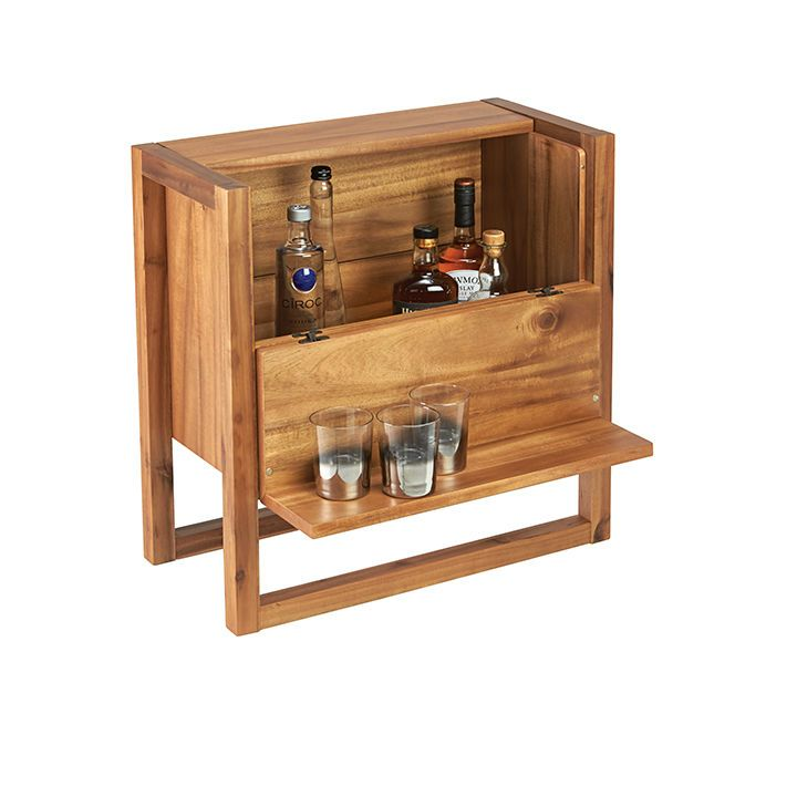 Elixir Minibar By Corral Home Bar Trappings In This Acacia Wood Cabinet.  The Sides Fold Down To Offer A Ledge For Glassware. When Closed, It  Discreetly ...