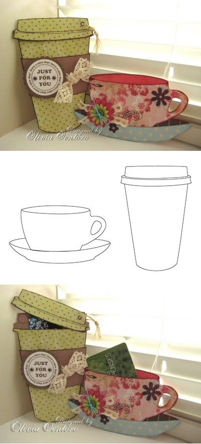 Free coffee cup & tea cup templates, from Liv at xhCreations: xhcreations.blogs...
