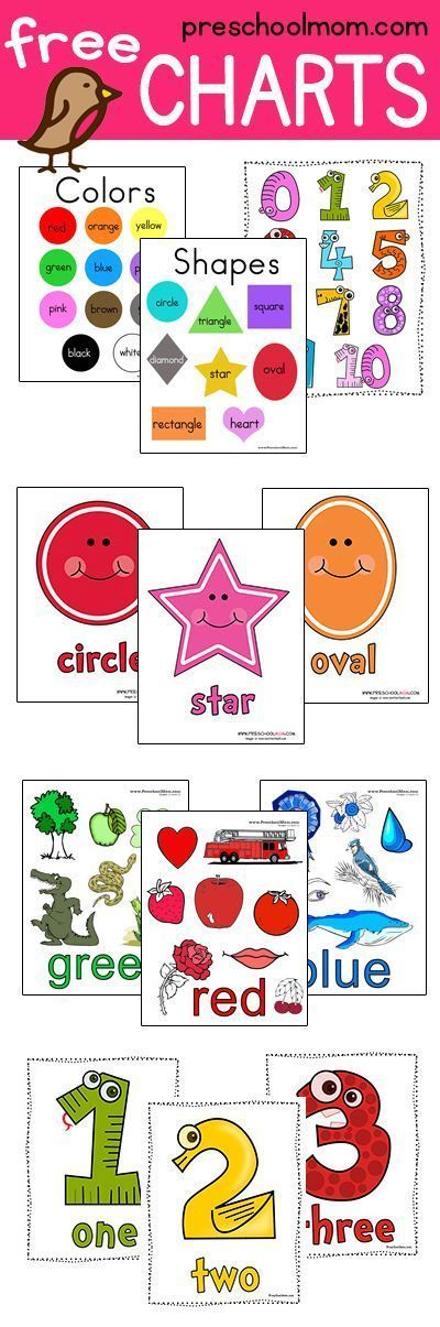 Great Collection of Free Printable Charts. This site has Colors, Shapes, Numbers, Alphabet, Butterfly, Frog Life Cycle, and more! via @prekmoms