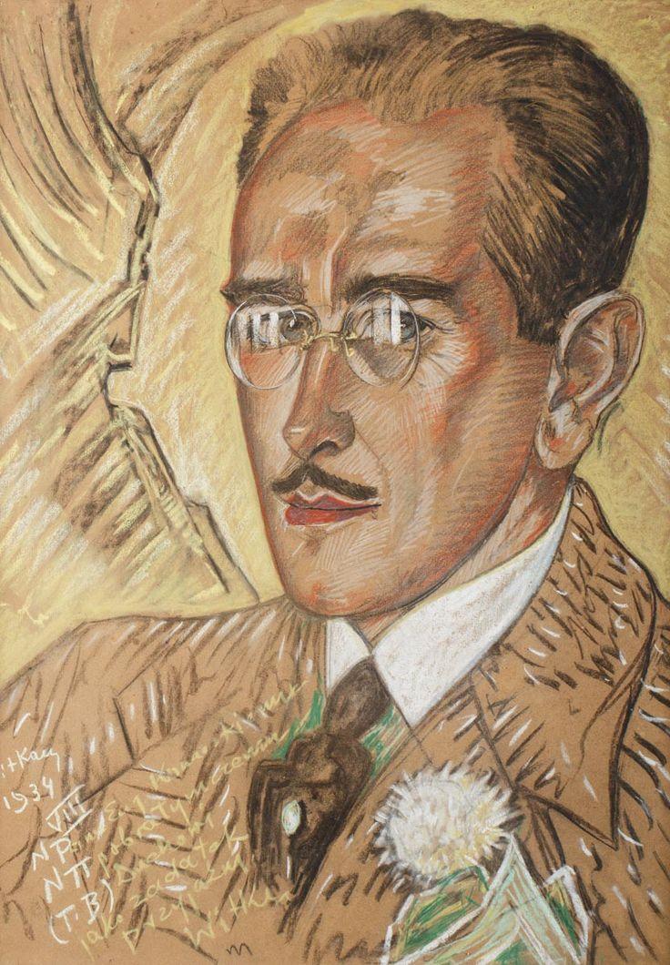STANISŁAW IGNACY WITKIEWICZ (WITKACY 1885 - 1939)  PORTRET EUGENIUSZA KONARSKIEGO, 1934   pastel, papier / 68,2 x 48,7 (w świetle passe-partout);