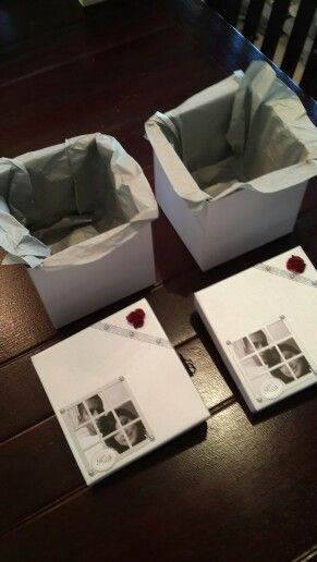 Boxes for packing hand made wedding invites by Sandi-G