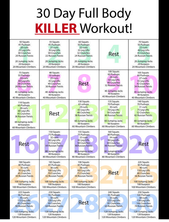 Awesome Work out exercises : So I have been looking at all of these 30 day workout challenges and do it yourself at home stuff because of my busy schedule...well so I combined a few and designed my own 30 day full body workout plan!! Enjoy! workout plans, workouts #workout #fitness
