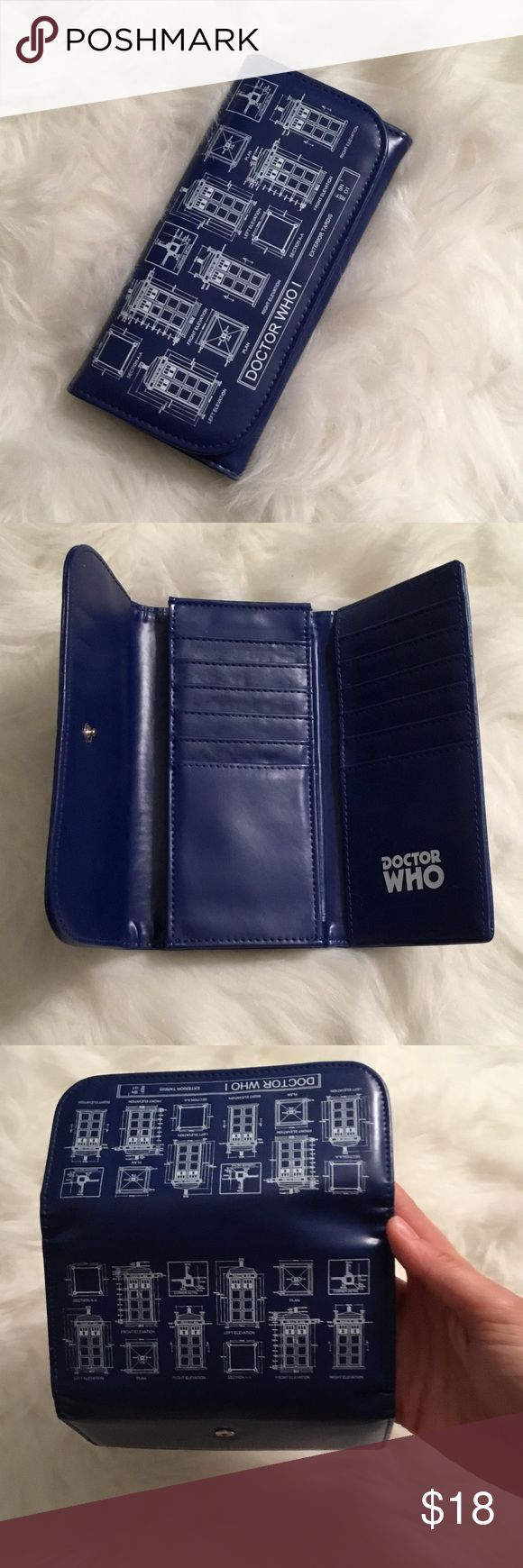 """Like New Doctor Who Wallet Like new trifold Waller with clasp. Tardis blueprint print. Tardis blue color. Holds 12 cards. Zippered coin pouch. 6.5"""" x 3"""" closed. Open: 6.5"""" x 9.5"""". No trades. Smoke free home. Open to offers. Doctor Who Bags Wallets"""