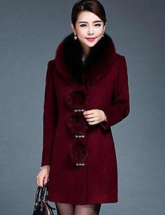 Casual/hétköznapi / Nagy méretek Egyszerű Téli-Női Kabát,Egyszínű Kerek Hosszú ujj Piros / Fekete Gyapjú / Műszőrme Vastag