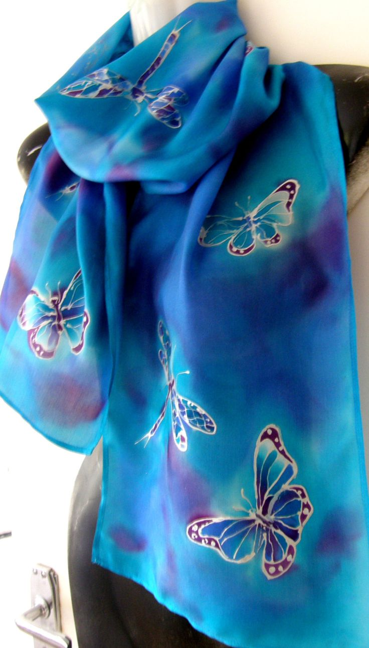 Handpainted SILK Scarf New Zealand Aquamarine, Blue, Silver BUTTERFLIES and  DRAGONFLY  Habotai Silk . 27cm x 150cm. Great Gift by KiwiSilks on Etsy
