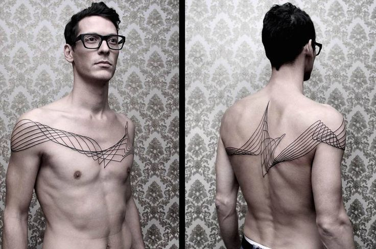 Chaim Machlev, with the Dots to Lines studio, creates tattoos with linear and spectral shapes