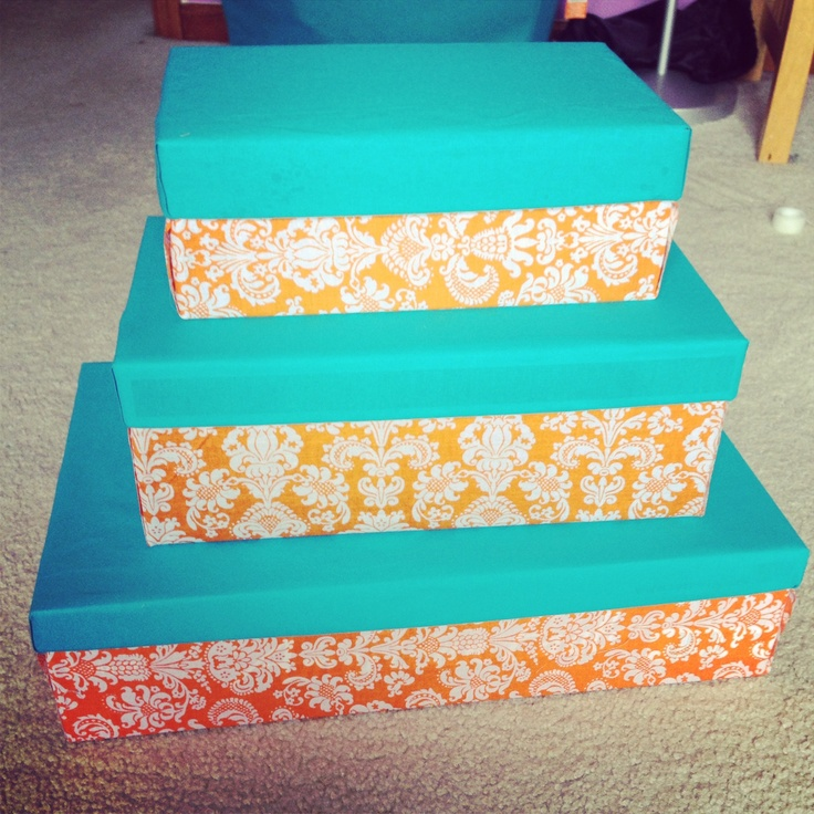 Decorated shoeboxes to make storage boxes!