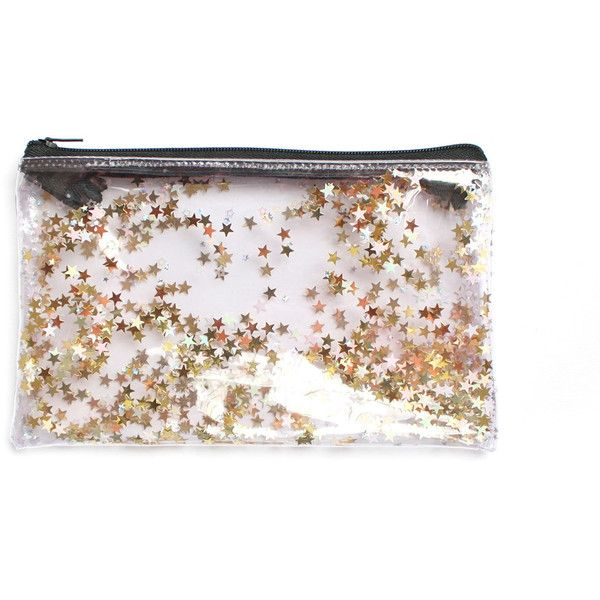 Golden Star, Pencil case, Transparent wallet, Clear bag, Purse... (£15) ❤ liked on Polyvore featuring bags, wallets, golden bag, glitter bag, crystal clear bags, clear transparent bag and clear pencil bag
