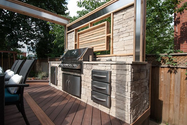 With A Built In Barbeque Stone Countertops Stacked Stone
