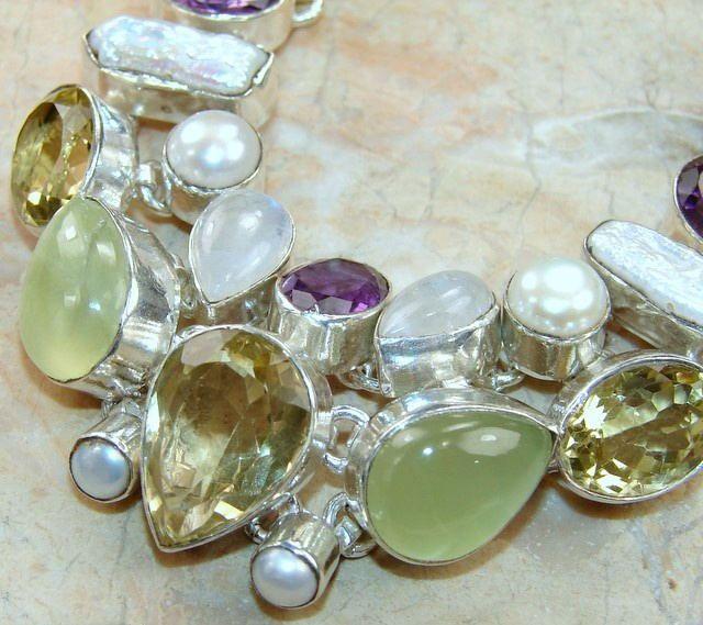 Prehnite,Amethyst and Citrine Multi Gemstone Necklace - Jewels Jaipur
