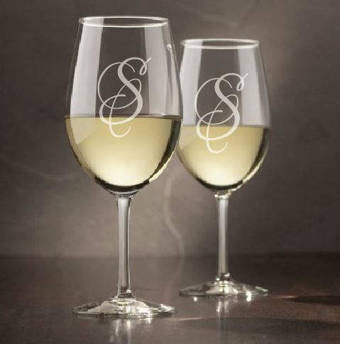 Monogram Wine Glasses (Set of 4) - engraved wine glass, wine glass, etched wine glass, personalized, bridesmaid gift, glassware by sketchedglass on Etsy