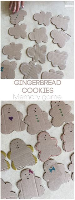 Gingerbread Cookies Memory Game - this is such a fun Christmas math game for toddler, preschool, kindergarten, and first grade to exercise their memory while playing this fun to make educational Christmas game for December.