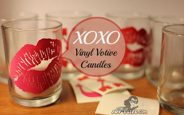 XOXO Vinyl Votive Candles using Silhouette Cameo #SilhouetteCameo #vinyl