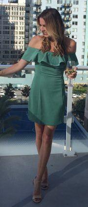 off the shoulder dress / #summer #outfits