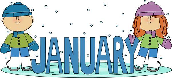 January Birthday Clip Art   January Ice Skating Kids Clip Art Image - the word January in blue ...