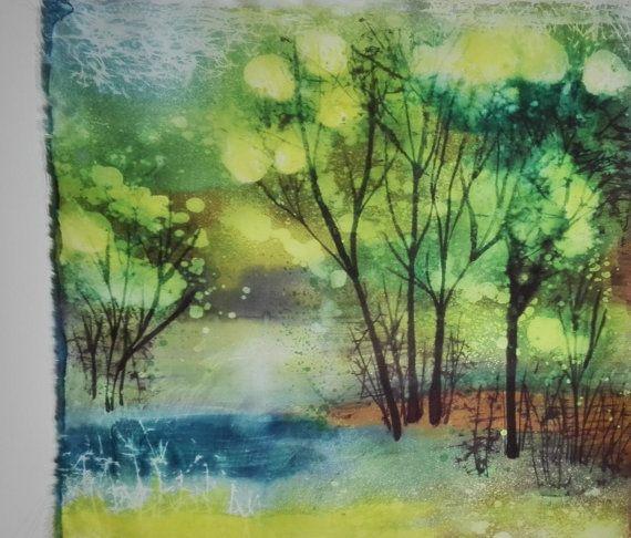 Impressionistisch schilderen op Sunrise bossen oorspronkelijke batik kunst groene decor Silk zijdeschilderen Batik kunst groene batik deelvenster Silk kunst lente landschap met bomen gratis verzending Handgeschilderde heet kaarsvet batik. Oorspronkelijke natuur schilderen op zijde. Lente landschap. Twilight bos. Groen schilderij. Impressionistisch landschap GRATIS VERZENDING! Delicate en een klein beetje glinsterende lichtgewicht 100% natuurzijde. Grootte: 22 x20 duim (55 x 50 cm). Zomen…