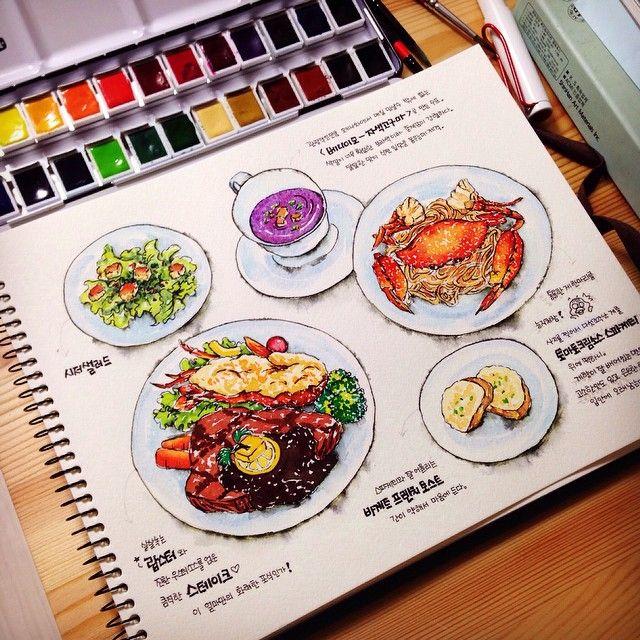 """423 Likes, 32 Comments - 천재오리 In Sapporo / Illustrator (@geniusducks) on Instagram: """"沖縄旅行ノート 10 じゃノーズへの食事。 シーザーサラダと紅芋スープとバゲットフレンチトースト。 メインはトマトクリームかにスパゲティとロブスター&ステーキ。…"""""""