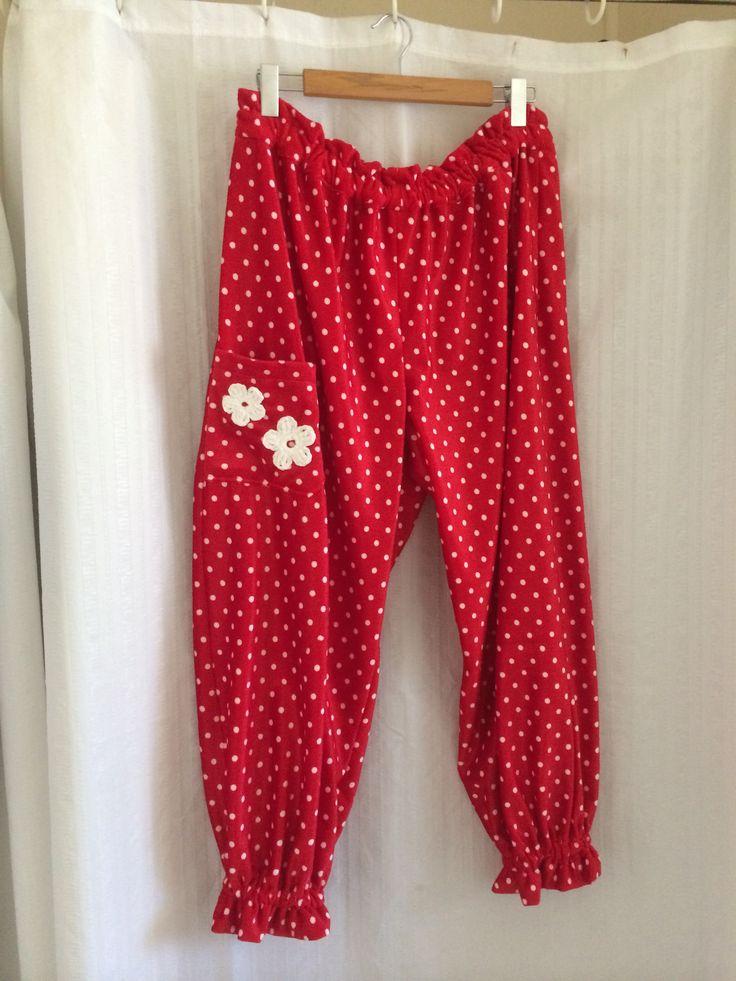 Spotty minky pants with crochet flower trim.
