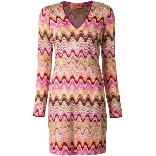 Missoni zig zag crochet short dress featuring polyvore, fashion, clothing, dresses, short dresses, multi colored dress, missoni, short crochet dress and mini dress