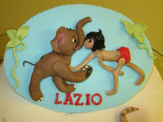 Gumpaste Plaque For The Jungle Book Baby Shower Cake. Mowgli And The Baby  Elephant Are