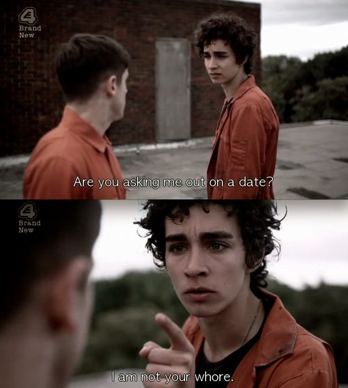 Misfits | Nathan Young and Simon Bellamy, Robert Sheehan & Iwan Rheon. @Shannon Bellanca Fahey mehh i miss nathan!!